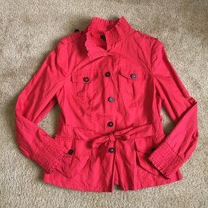 Etcetera leather button ruched tie waist jacket.